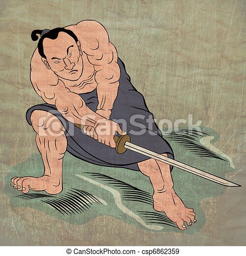 Samurai warrior with katana sword fighting stance - csp6862359