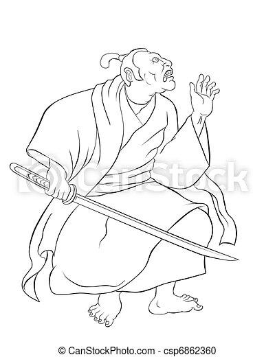 Samurai warrior with katana sword fighting stance - csp6862360