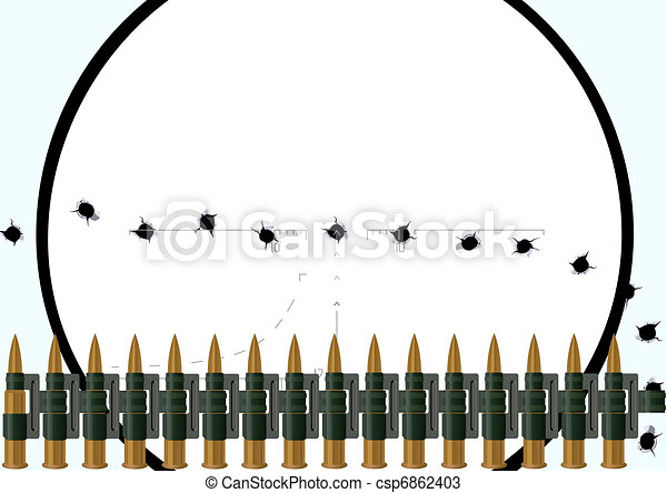 Sniper Bullet Drawing Machine-gun Belt With Bullets