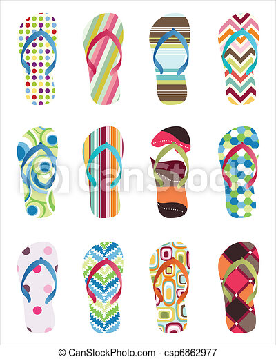 Set of colorful Flip flops - csp6862977