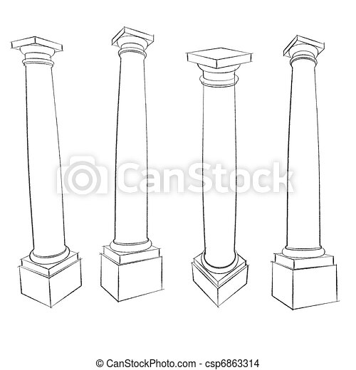 pencil sketches of Vitruvius Roman Tuscan column square plinth - csp6863314