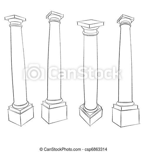 pencil sketches of Vitruvius Roman Tuscan column square plinth - csp6863314