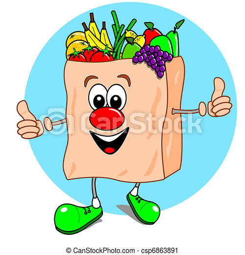 Cartoon bag of fruit & veg - csp6863891