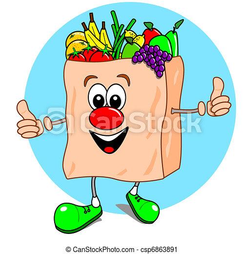 Cartoon bag of fruit & veg - csp6863891