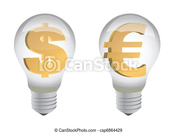euro and dollar sign in lightbulb - csp6864429