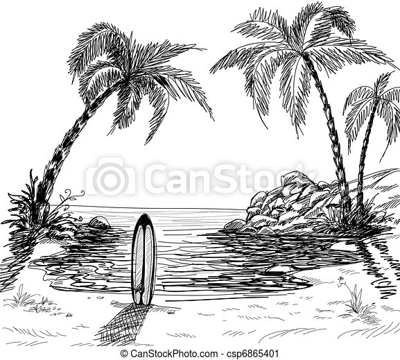 Seascape drawing - csp6865401