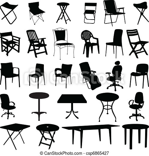 Vectors Illustration Of Chair And Table Silhouette Vector