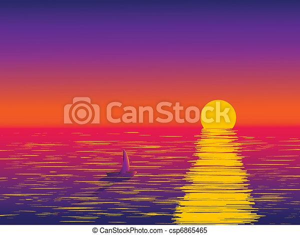 Vecteur clipart de coucher soleil mer a solitaire - Dessin coucher de soleil ...