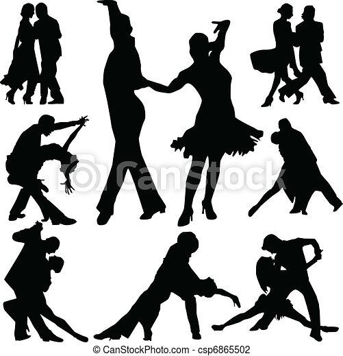 dance people silhouette vector - csp6865502