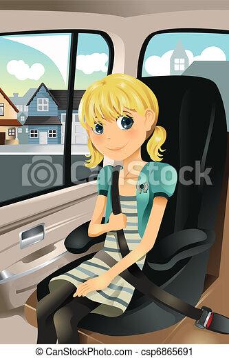Girl in car seat - csp6865691