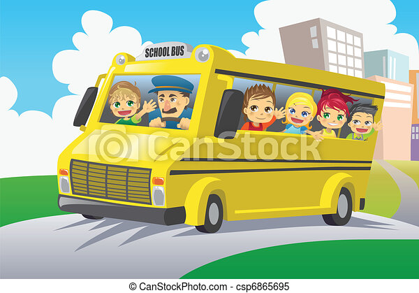 Kids in school bus - csp6865695