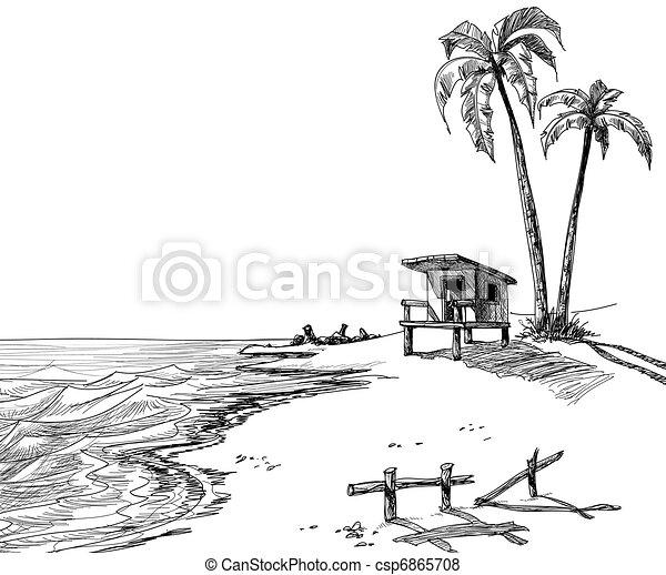 Summer beach sketch - csp6865708