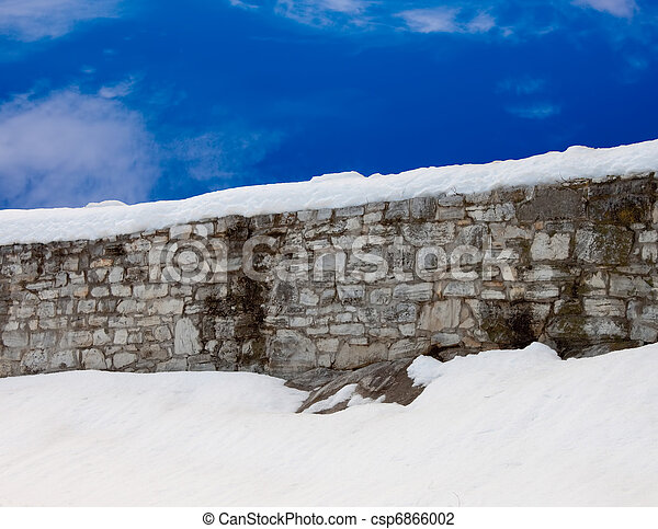 Snowy Wall with blue sky - csp6866002