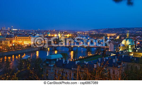 Prague bridges at night - csp6867089
