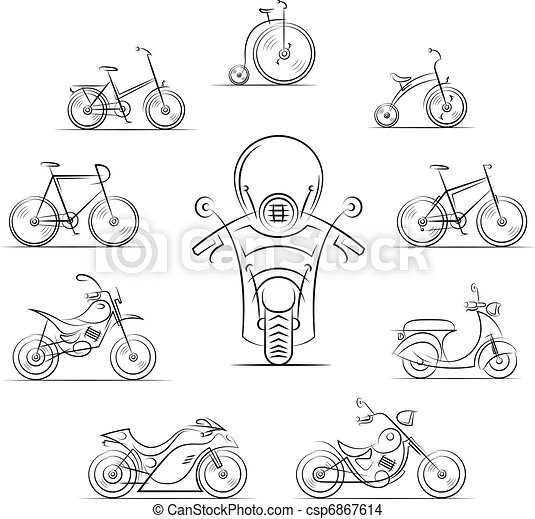 set of bicycles and motorcycles - csp6867614