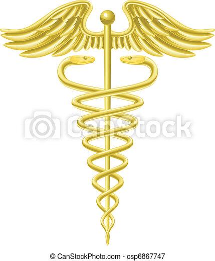 Caduceus gold medical symbol - csp6867747