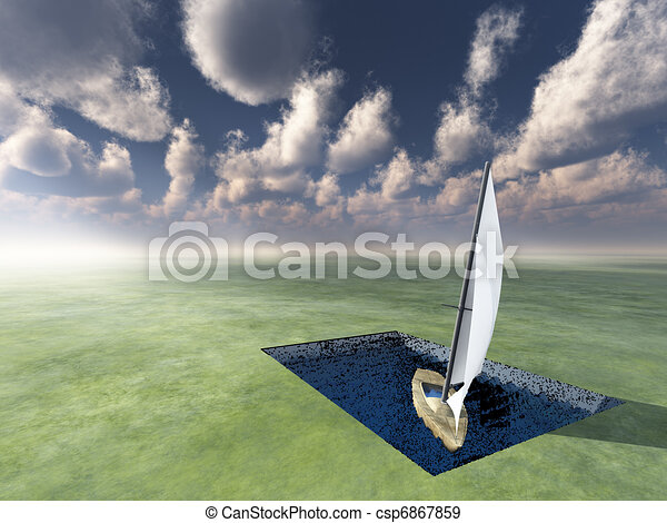landlocked boat and tiny square of water - csp6867859