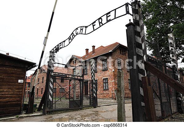 auschwitz entrance gate - csp6868314