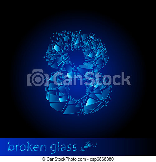 Broken glass  - digit eight - csp6868380