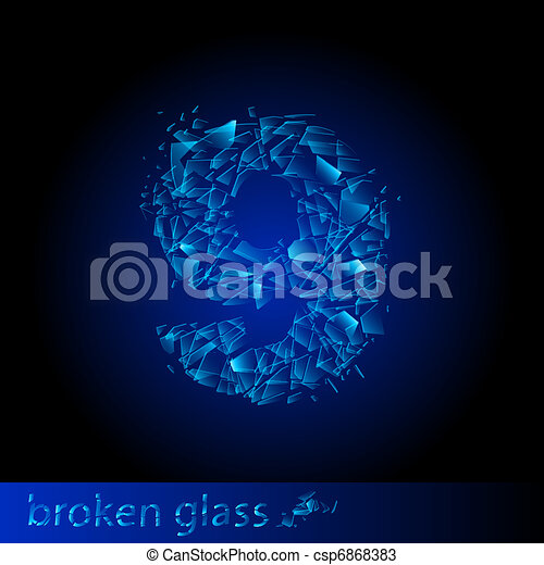Broken glass  - digit nine - csp6868383
