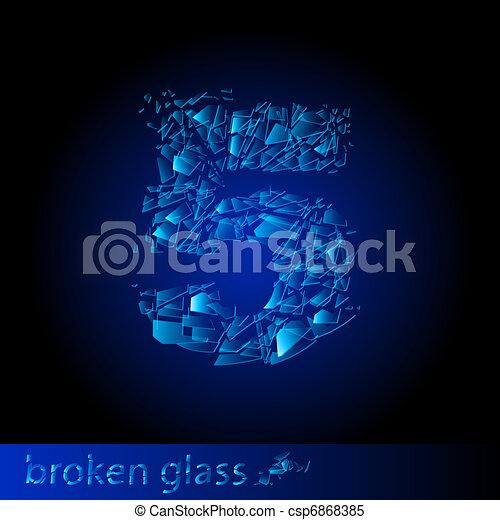 Broken glass  - digit five - csp6868385