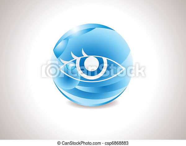 abstract glossy blue vision icon - csp6868883