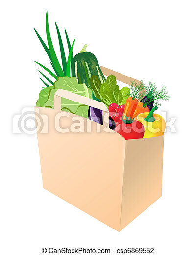 paper bag with fresh vegetables - csp6869552