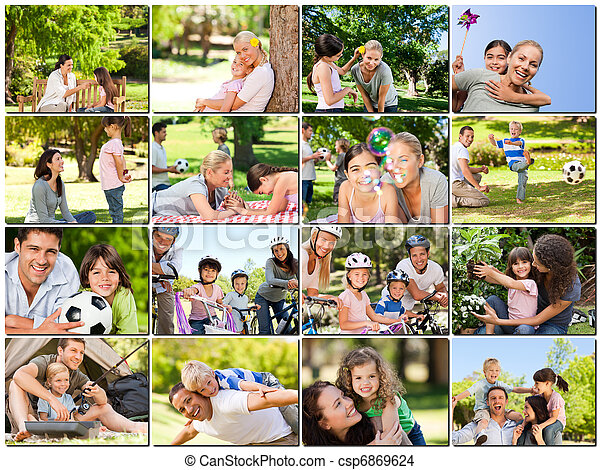Montage of young adults having fun with their children - csp6869624
