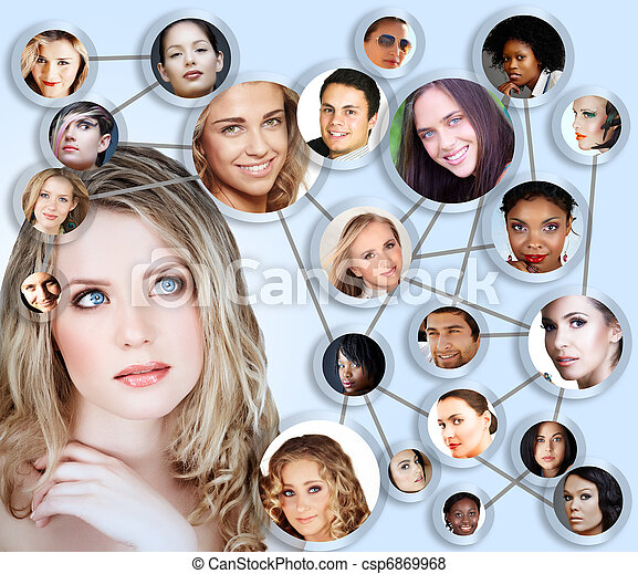 social network media concept collage - csp6869968