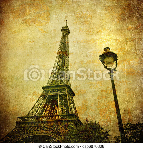 Vintage image of Eiffel tower, Paris, France - csp6870806