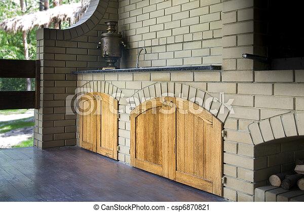 Stock fotografi af udendørs, køkken   udendørs, moderne, køkken ...