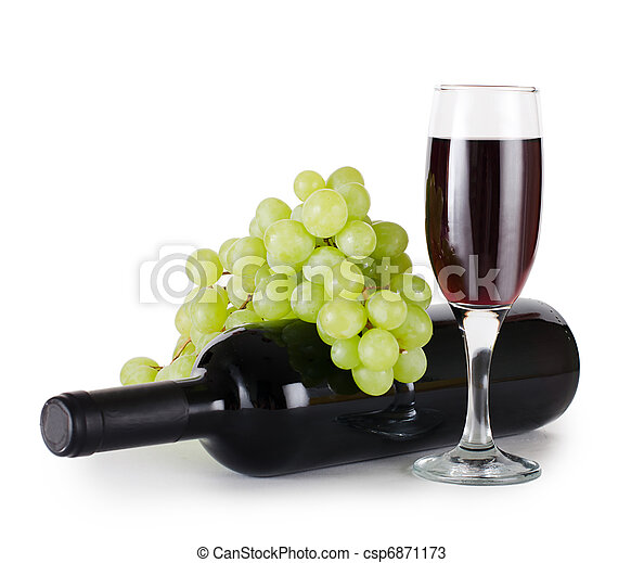 Red wine glass isolated on white - csp6871173