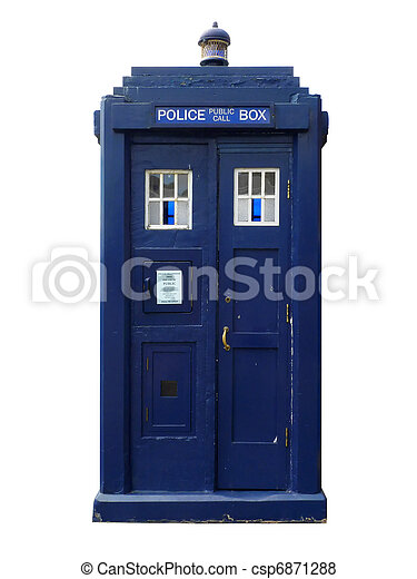 Traditional British police box; straight-on view of old-fashioned police box, isolated against white ground  - csp6871288