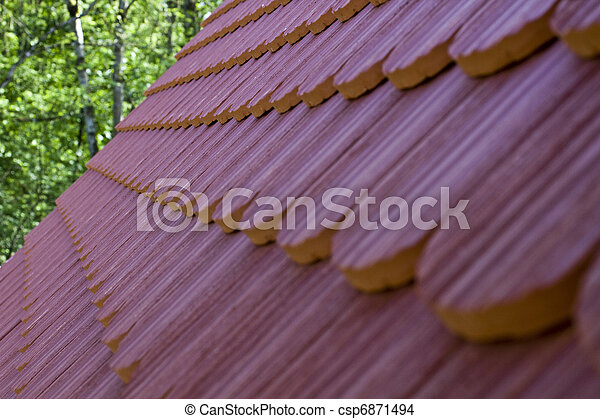 roof tile with part of eaves gutter - csp6871494