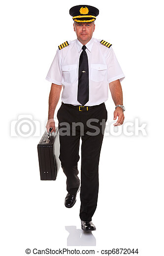 Airline pilot walking carrying flight case. - csp6872044