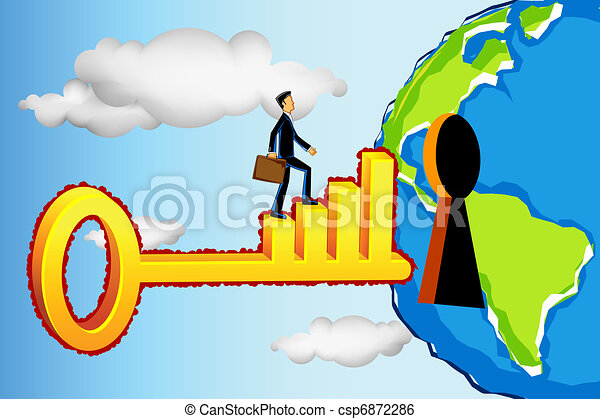 Business Man Entering Profitable World - csp6872286