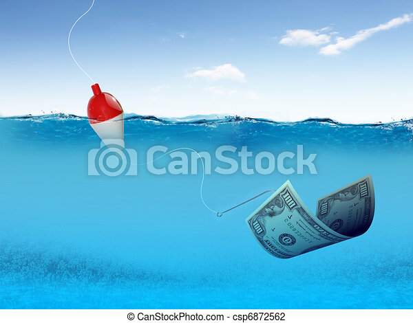 fish hook underwater with banknotes - csp6872562