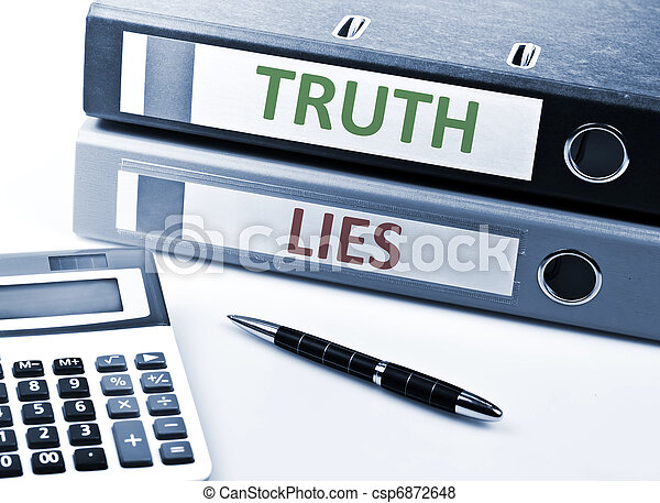 Truth and Lies write on folder - csp6872648