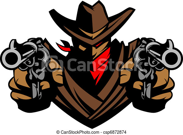 Cowboy Mascot Aiming Guns - csp6872874