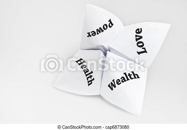 Life aspirations on fortune teller - csp6873080