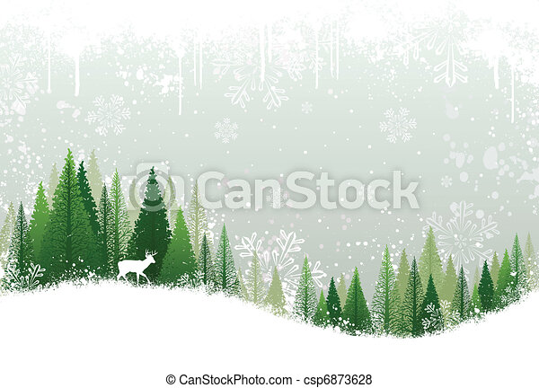 Snowy winter forest background - csp6873628