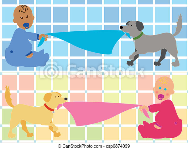 Cartoon baby with dog pulling blank - csp6874039