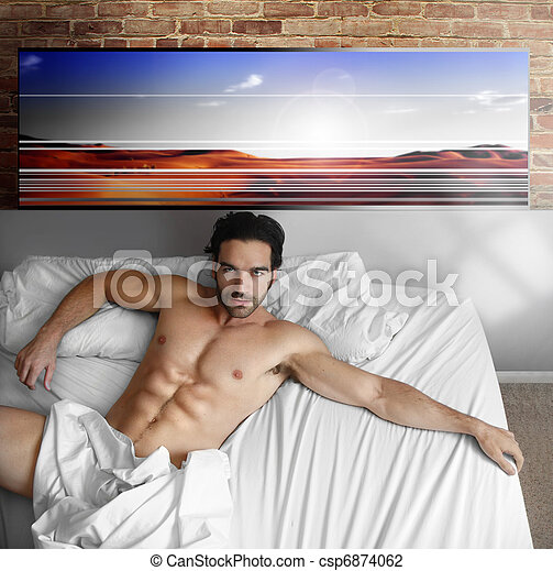 Cool guy in bed - csp6874062
