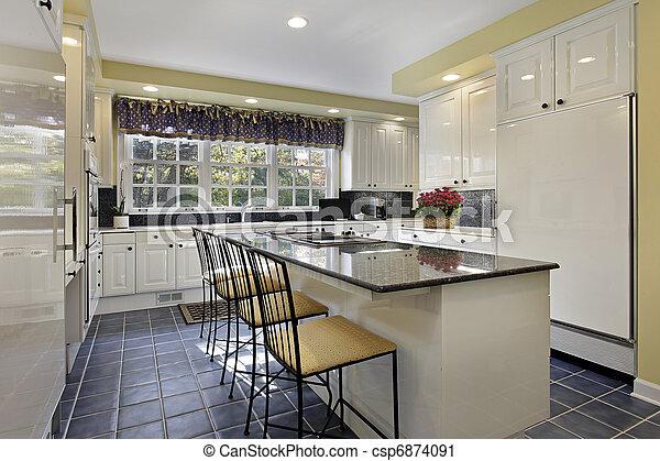 stock fotografie von kueche mit granit bankschalter kueche in csp6874091 suchen sie. Black Bedroom Furniture Sets. Home Design Ideas