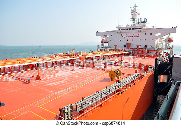 Oil tanker ship in port - csp6874814