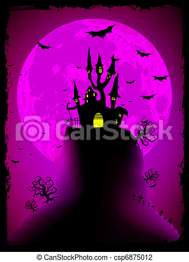Scary halloween vector with magical abbey. EPS 8 - csp6875012