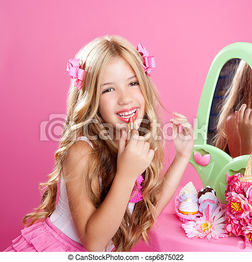 children fashion doll little girl lipstick makeup pink vanity - csp6875022
