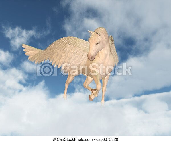 Pegasus Looking Down Through Clouds - csp6875320