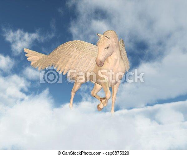Pegasus Looking Down Through Clouds - csp6875320