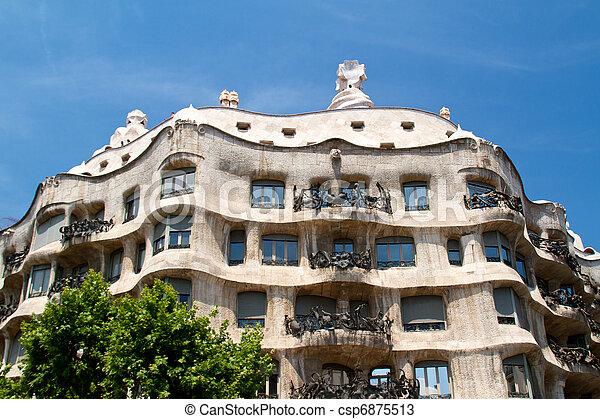 BARCELONA - May 26: Casa Mila La Pedrera builbing on May 26, 2011 in Barcelona. Casa Mila is one of buildings created by Antonio Gaudi. It is very popular landmark in Barcelona. - csp6875513
